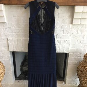 Long navy evening gown.